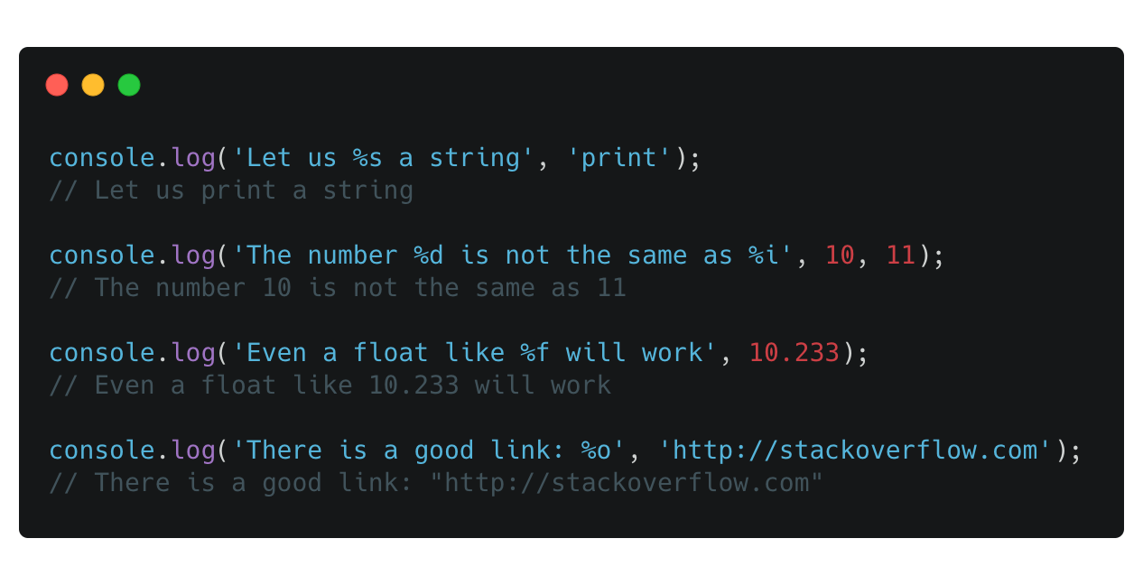 Console.log with params