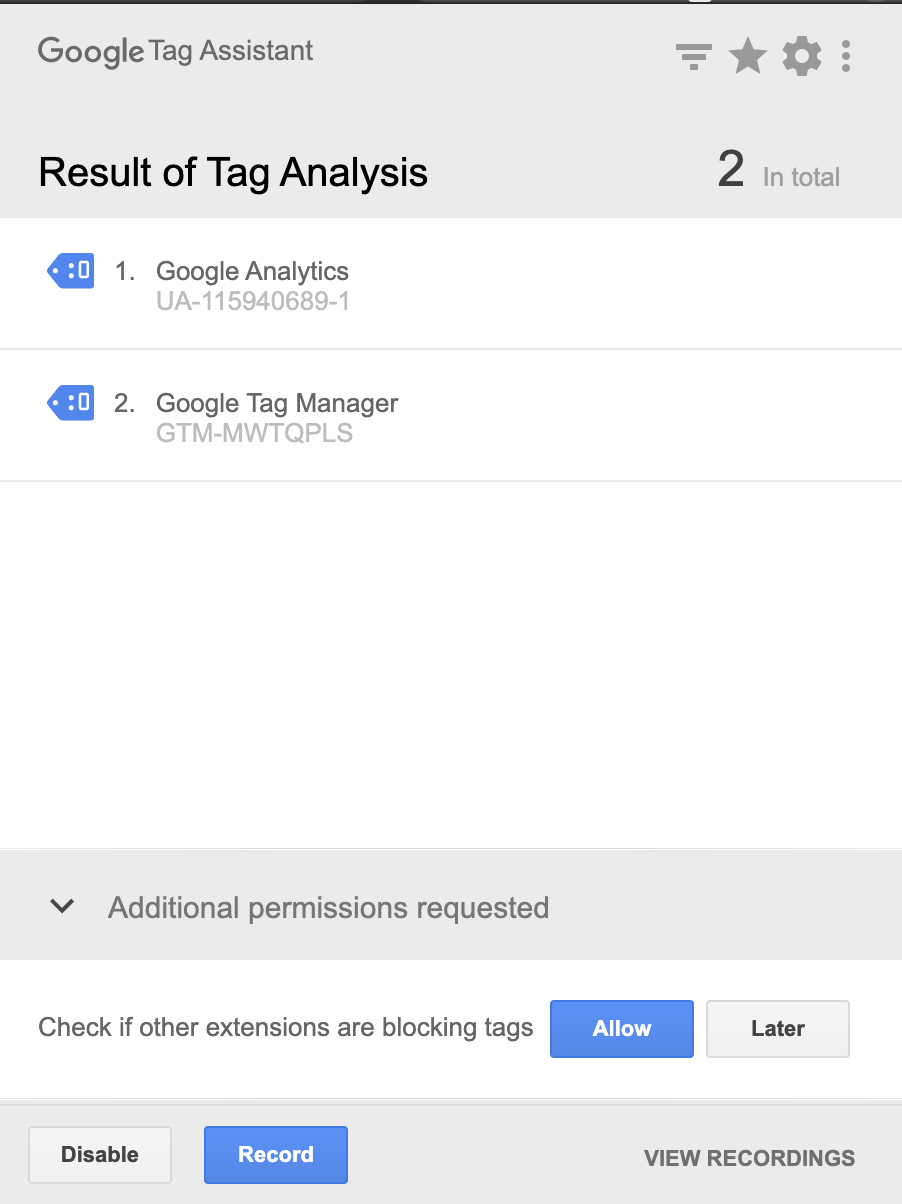 Tag Assistant Chrome extension