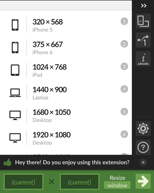 Window Resizer Chrome extension