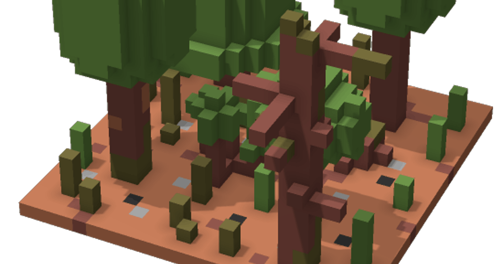 Generation and Render of 2D Map with Terrain in Dart + Flutter. Adding Forest Spots. Part 2