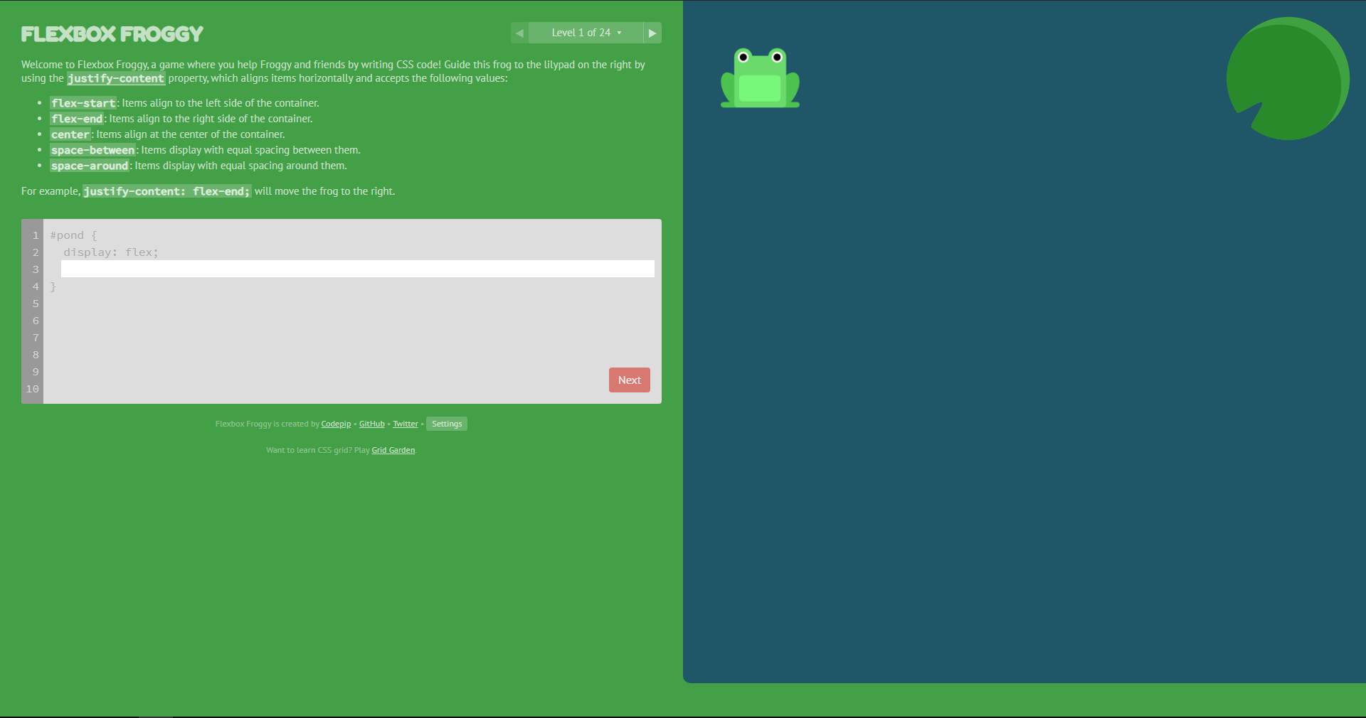flexbox_froggy_level1