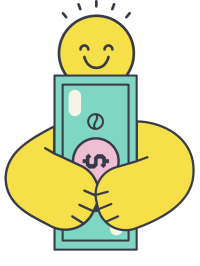 A person holding money and smiling