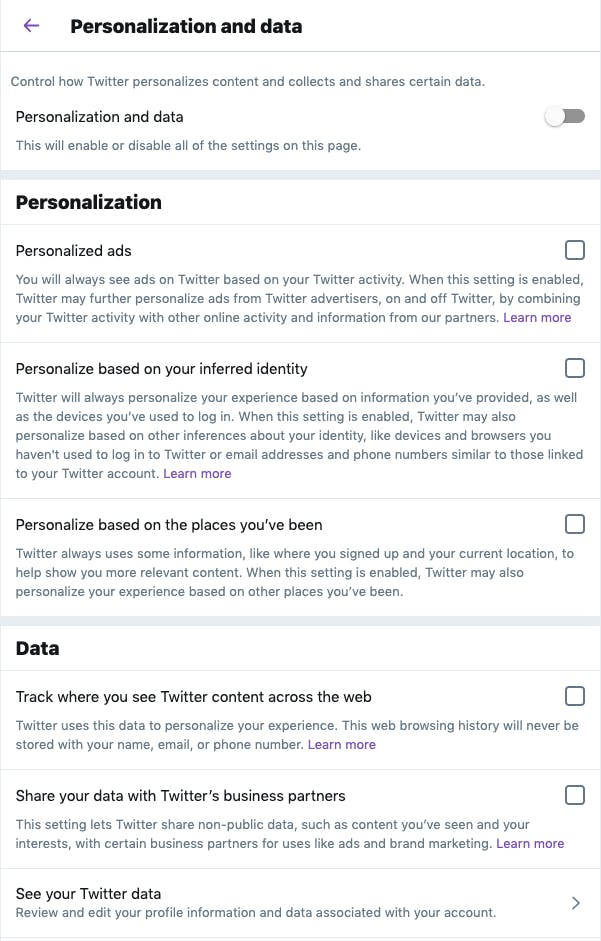 Twitter's privacy settings