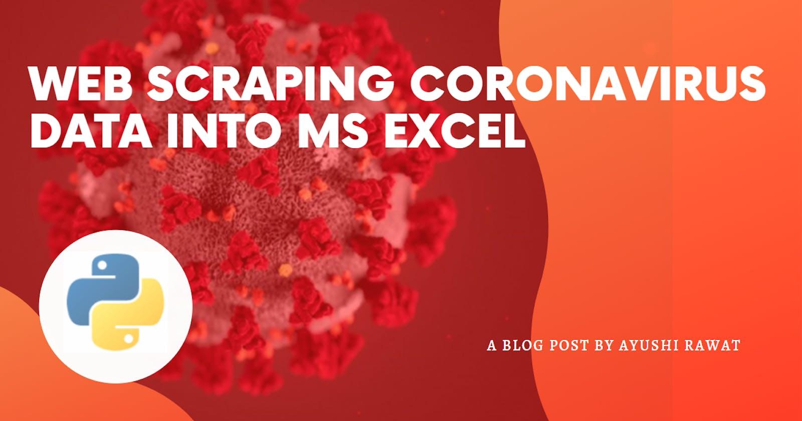 Web Scraping Coronavirus Data into MS Excel