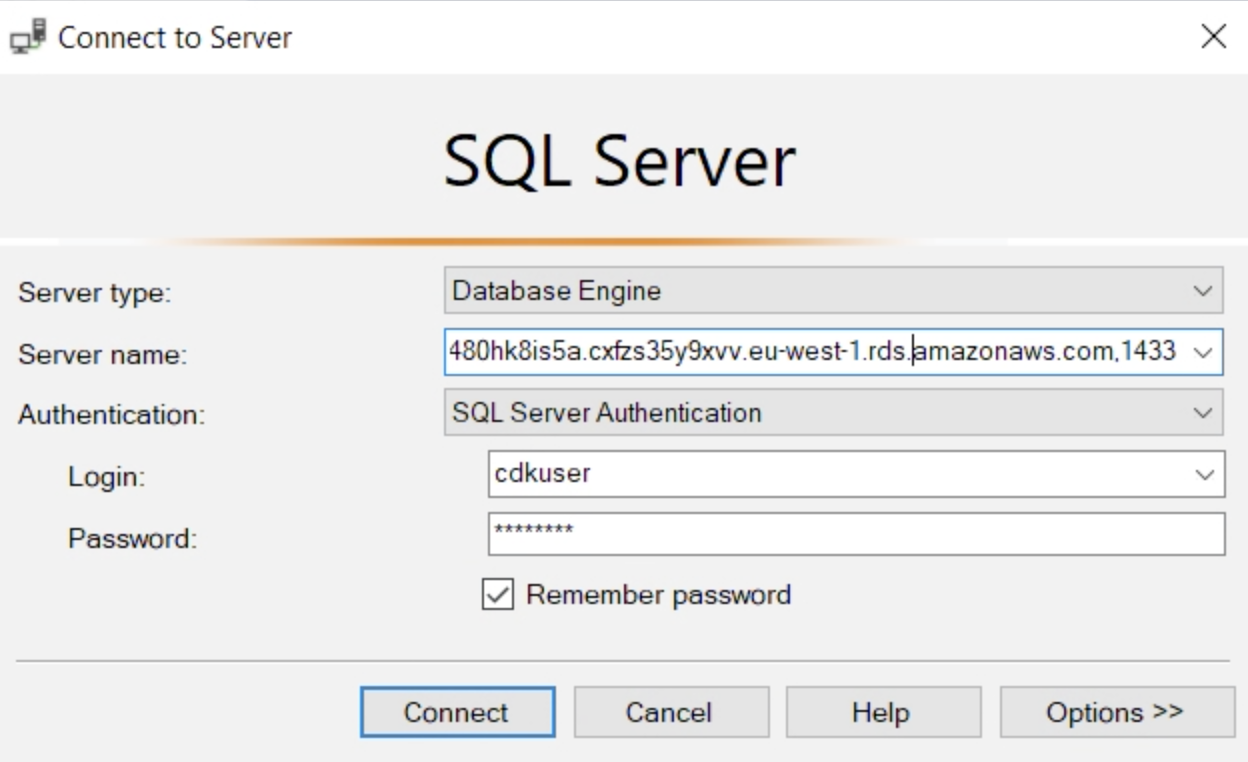 SQL connect to server