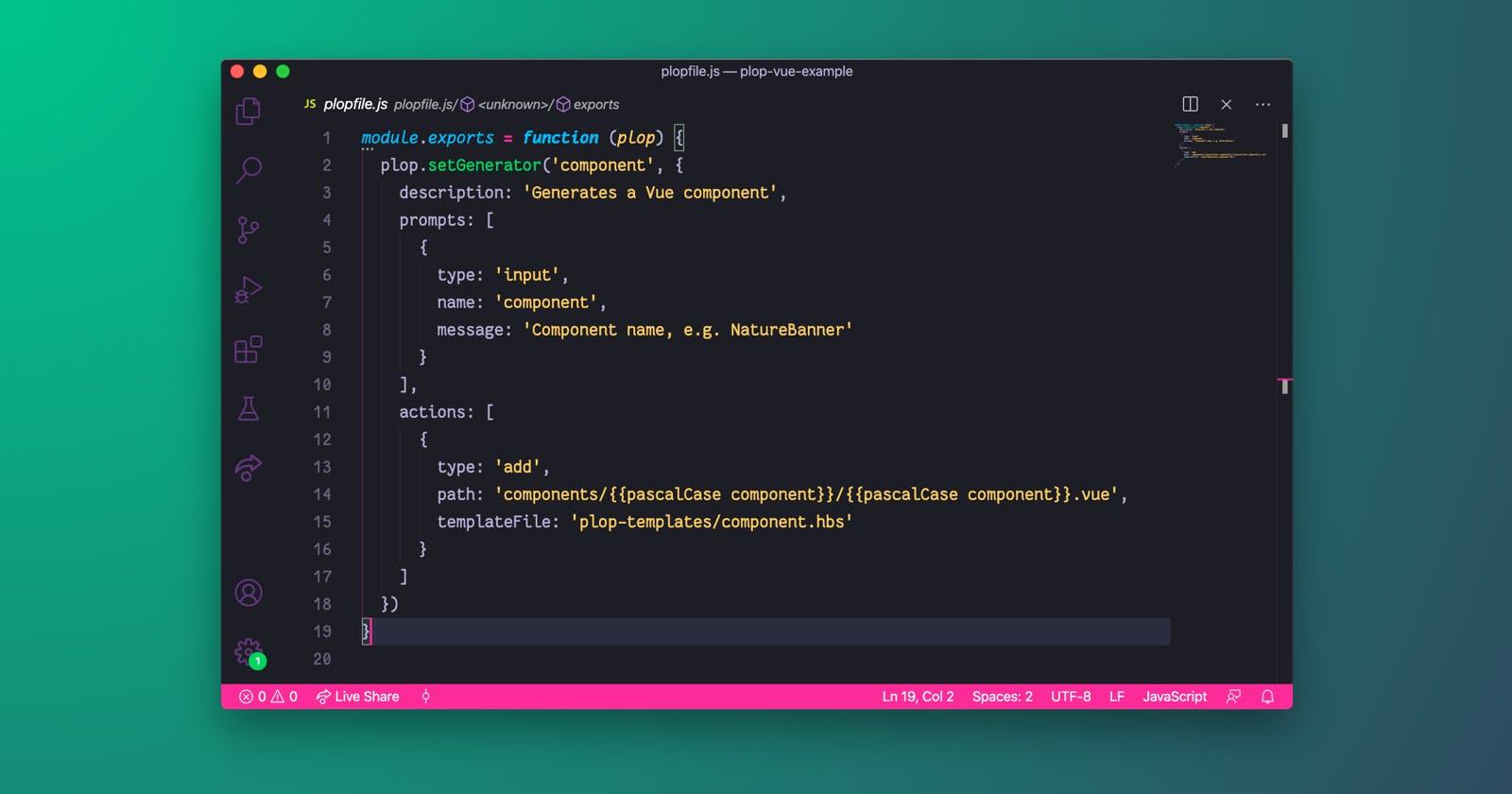 Generate a Vue component using Plop