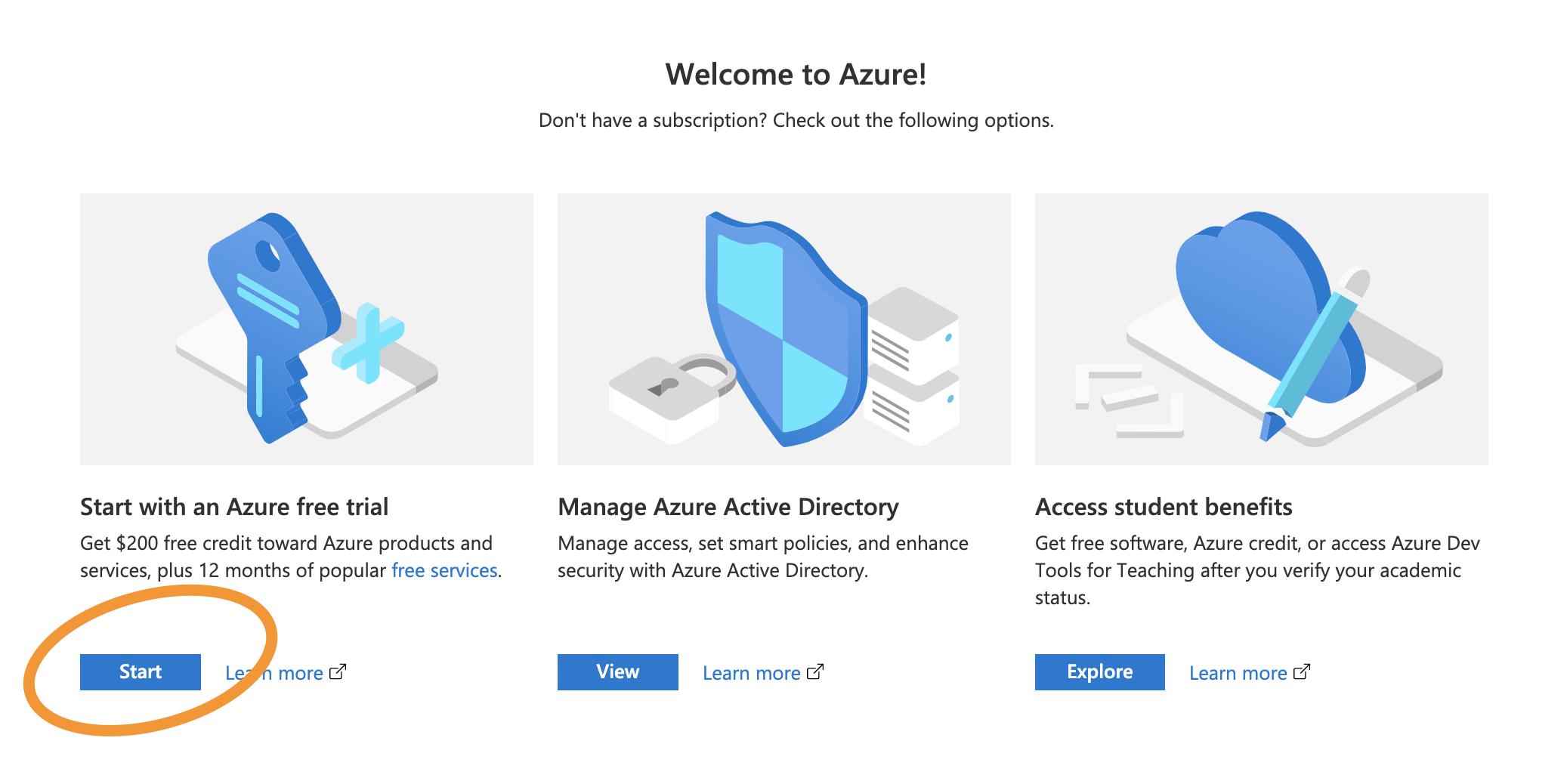 Azure free trial
