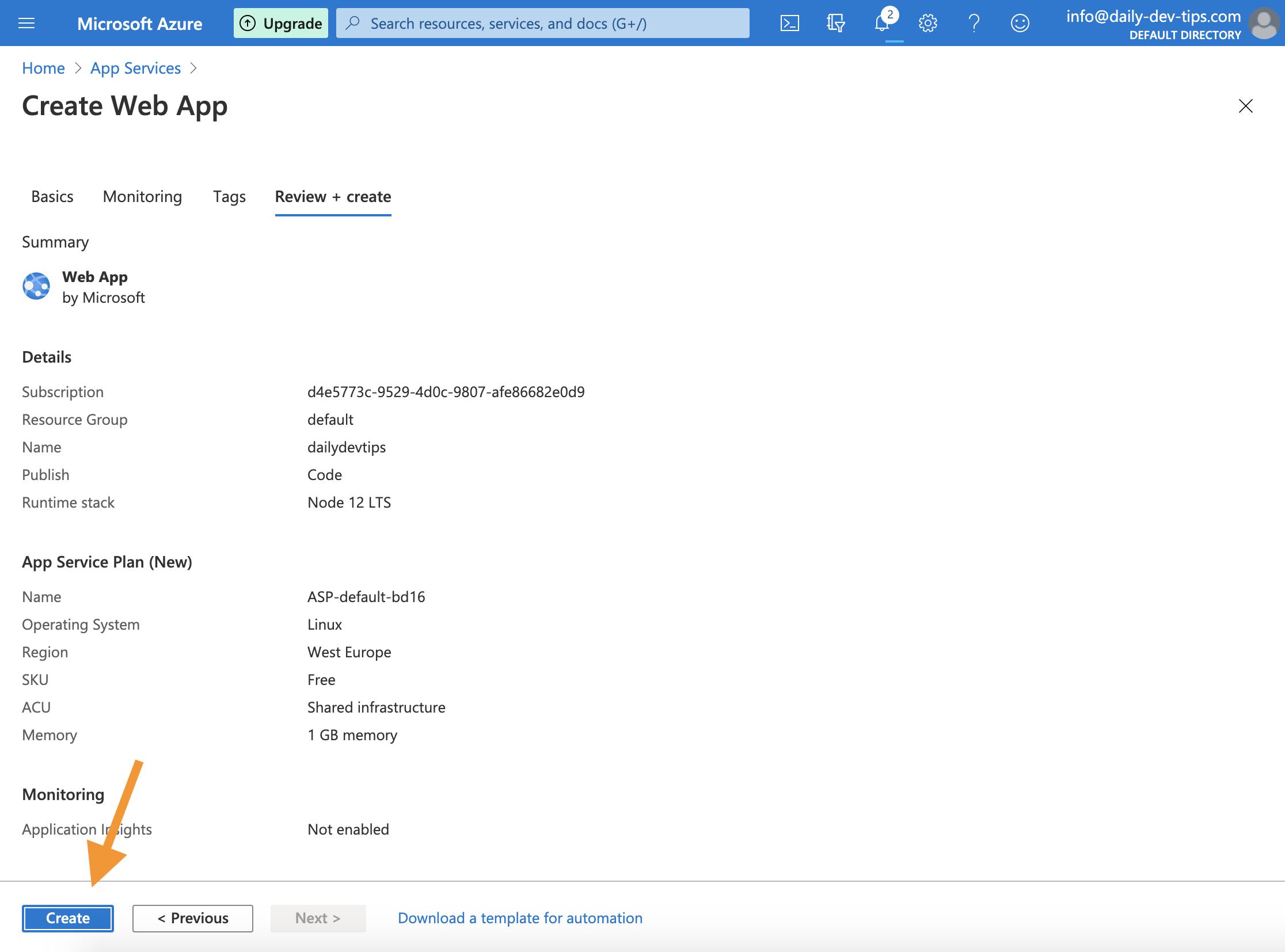 App Service Create