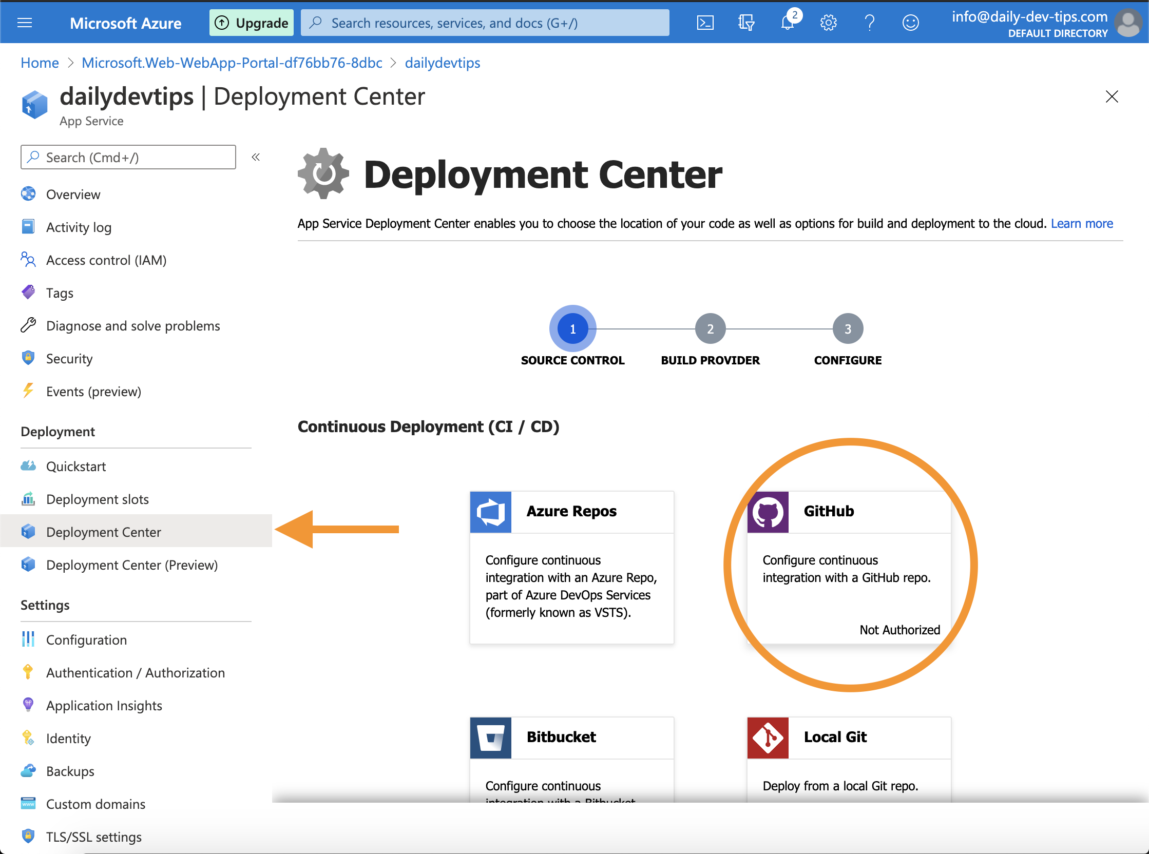 Azure deployment center