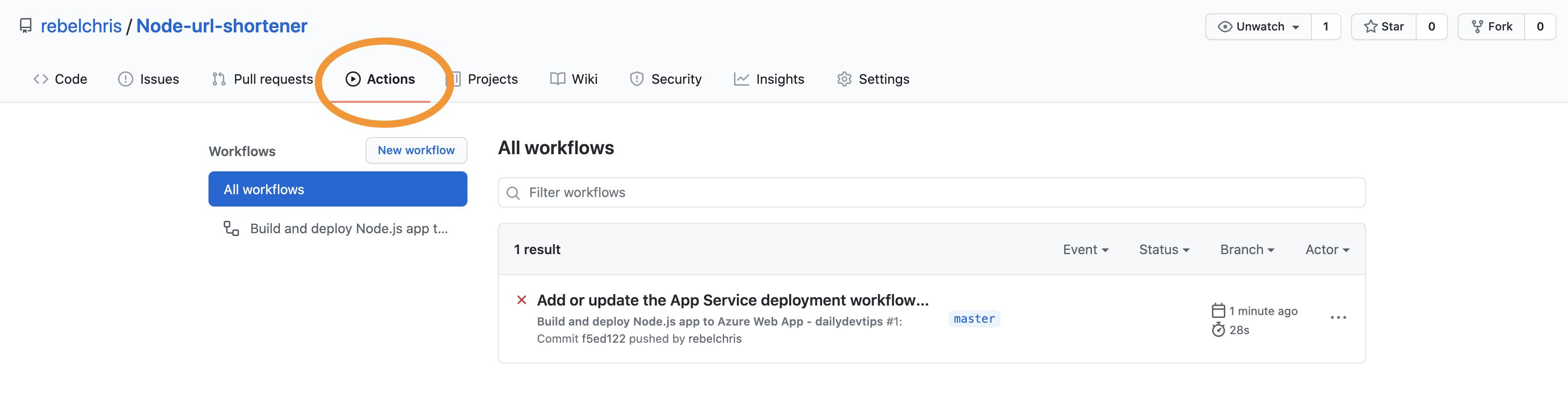 GitHub Actions tab