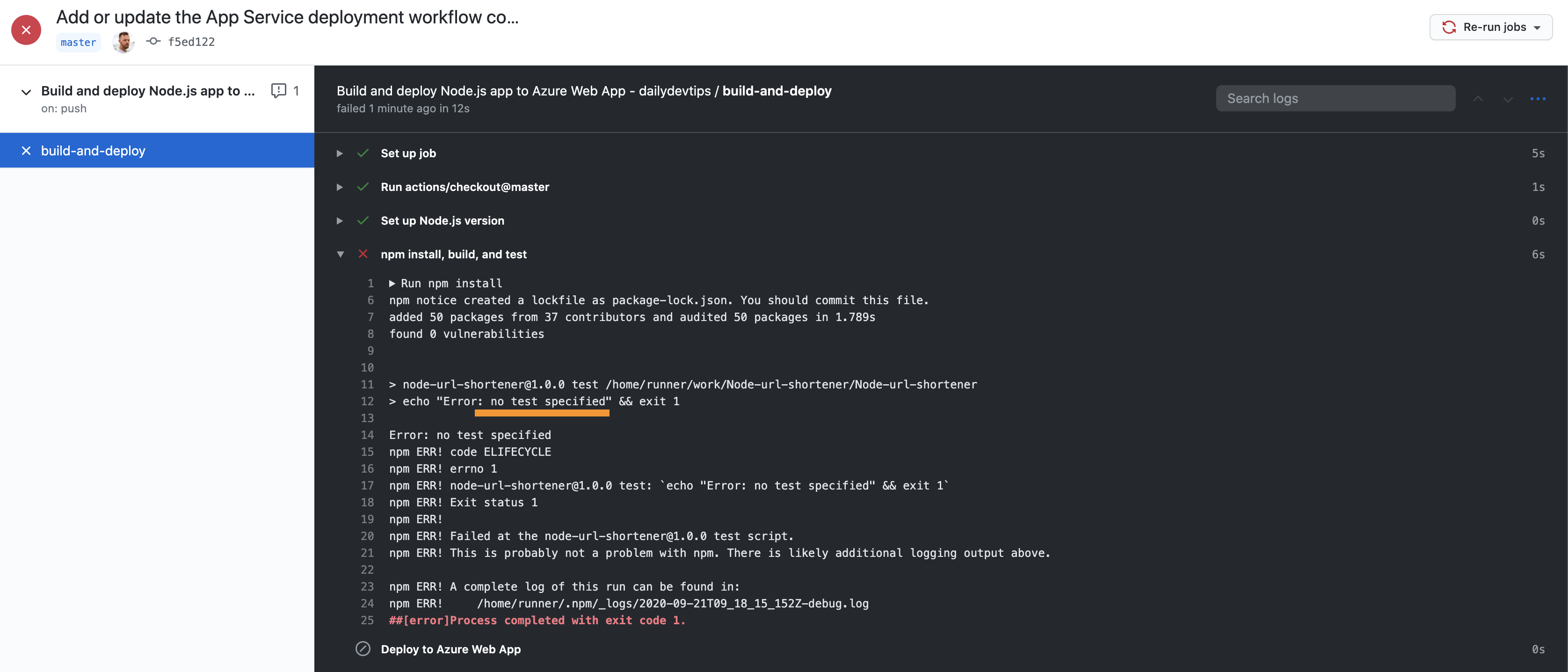 Failed GitHub Action