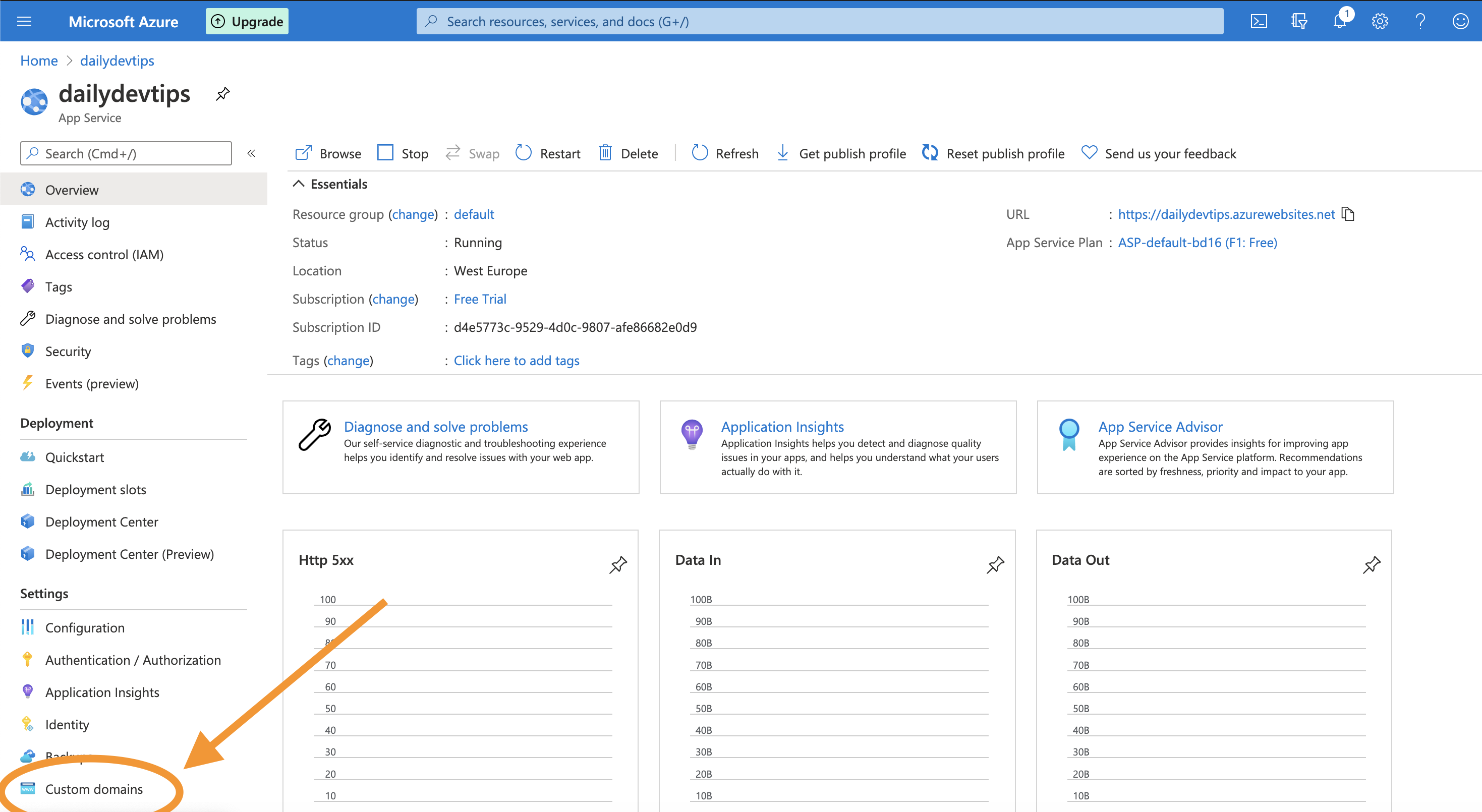 Azure custom domains section