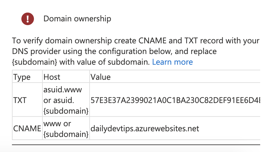 Azure domain ownership