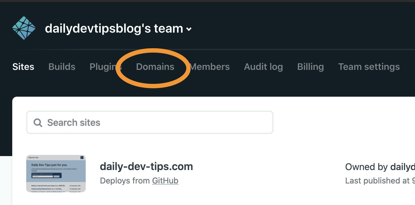 Netlify Domain Settings