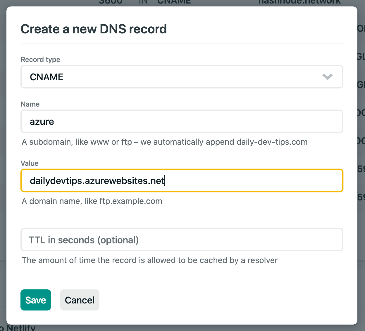 DNS Record settings