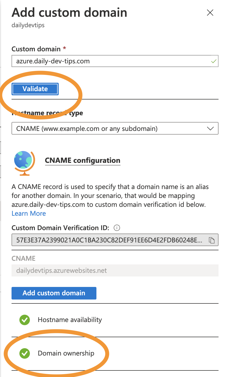 Azure verify domain