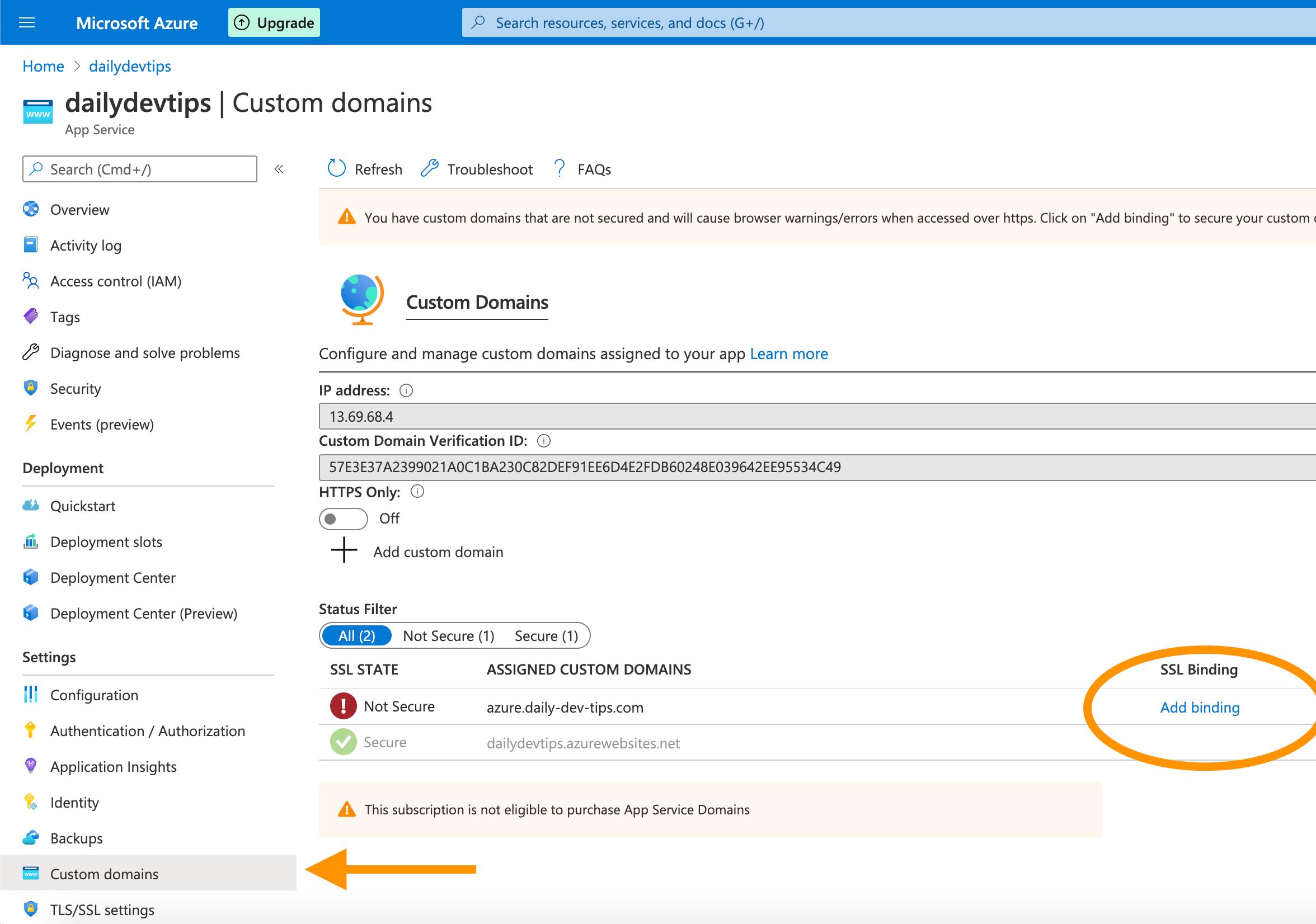 Azure Custom domain section