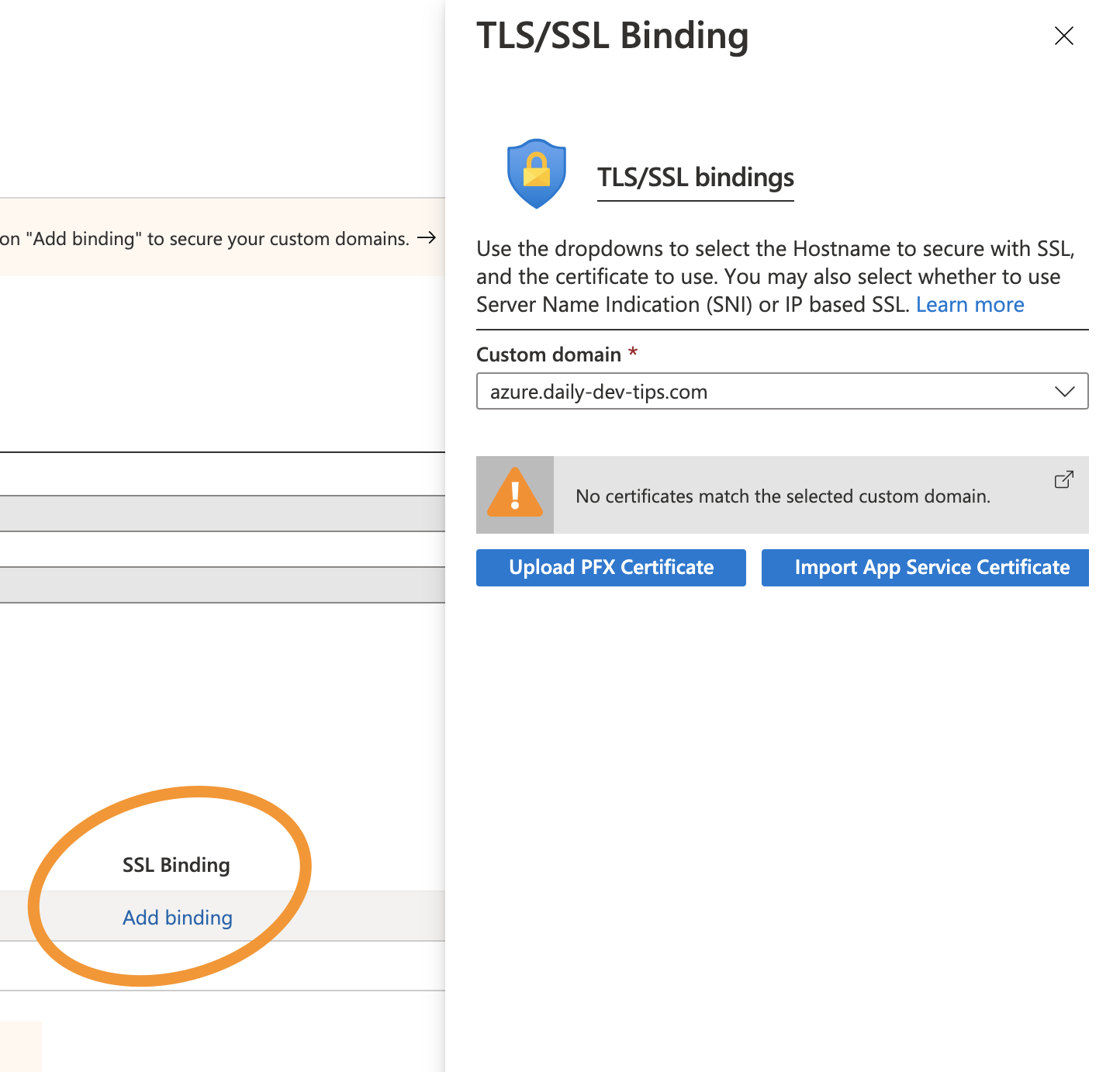 Azure SSL Binding