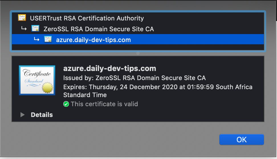 Chrome inspect SSL Certificate