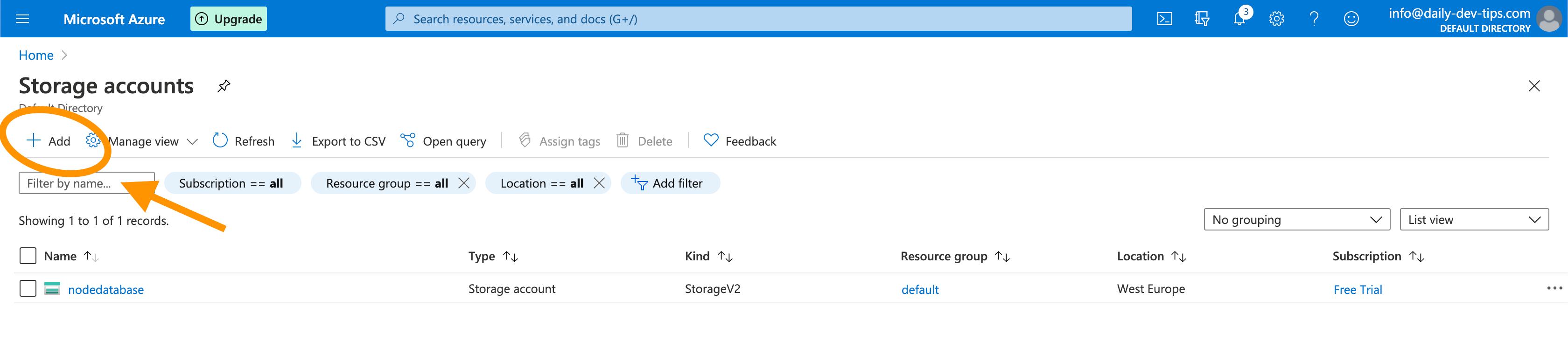 Azure add new Storage Account