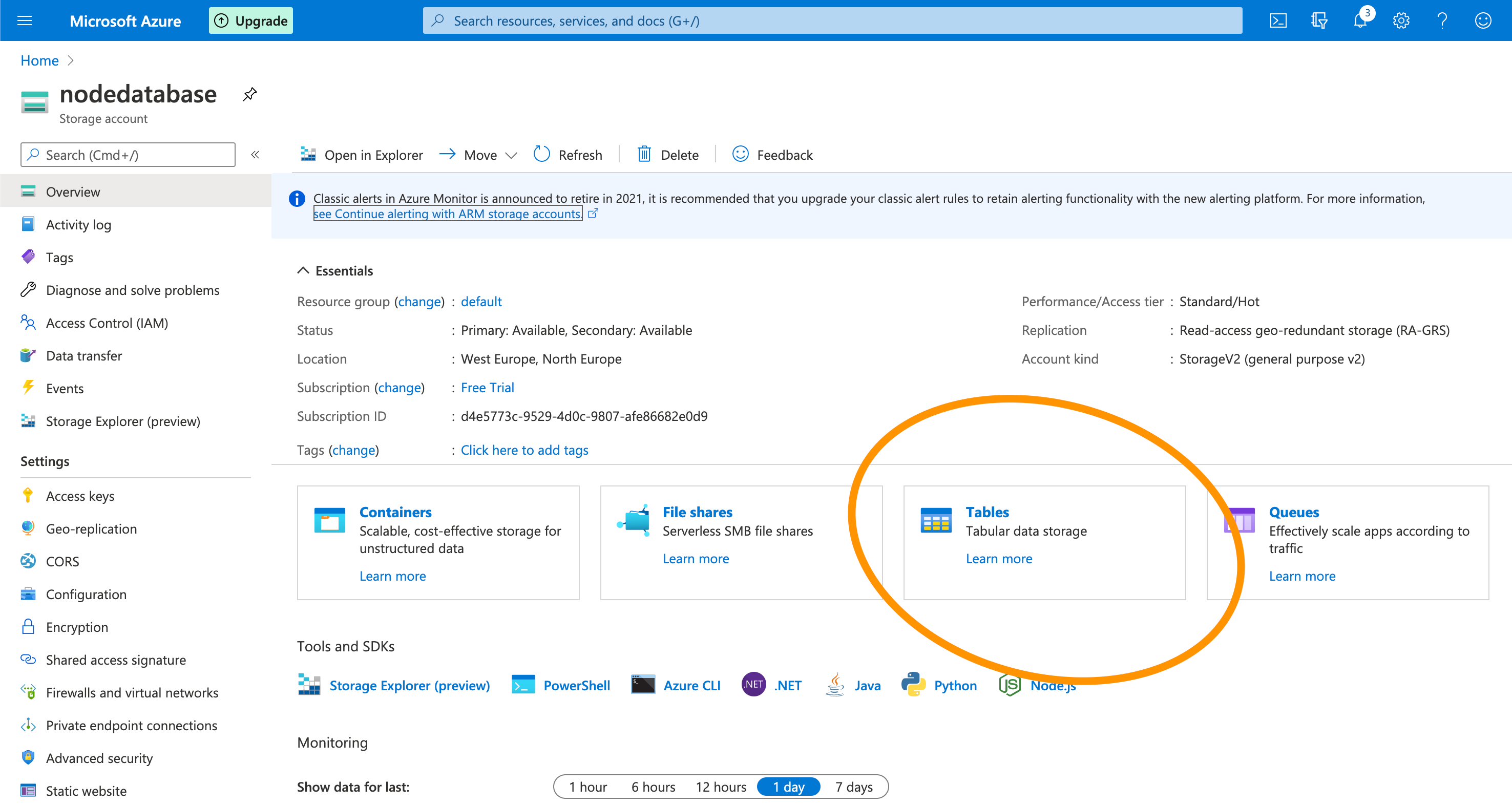 Azure Storage account ~ table