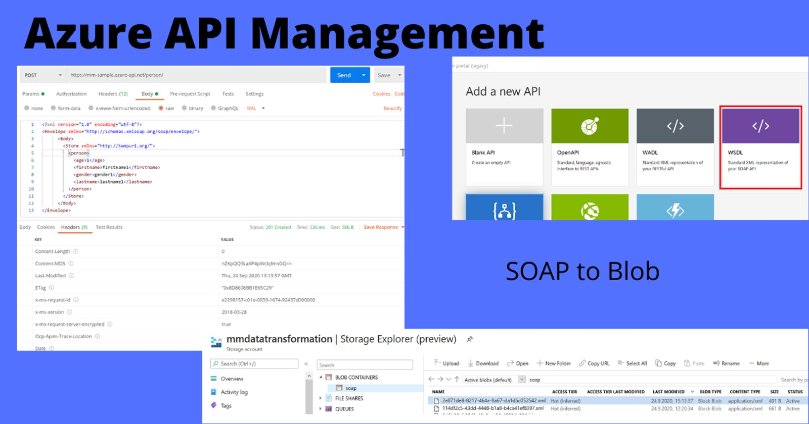Expose SOAP service in Azure API Management and store data in Blob