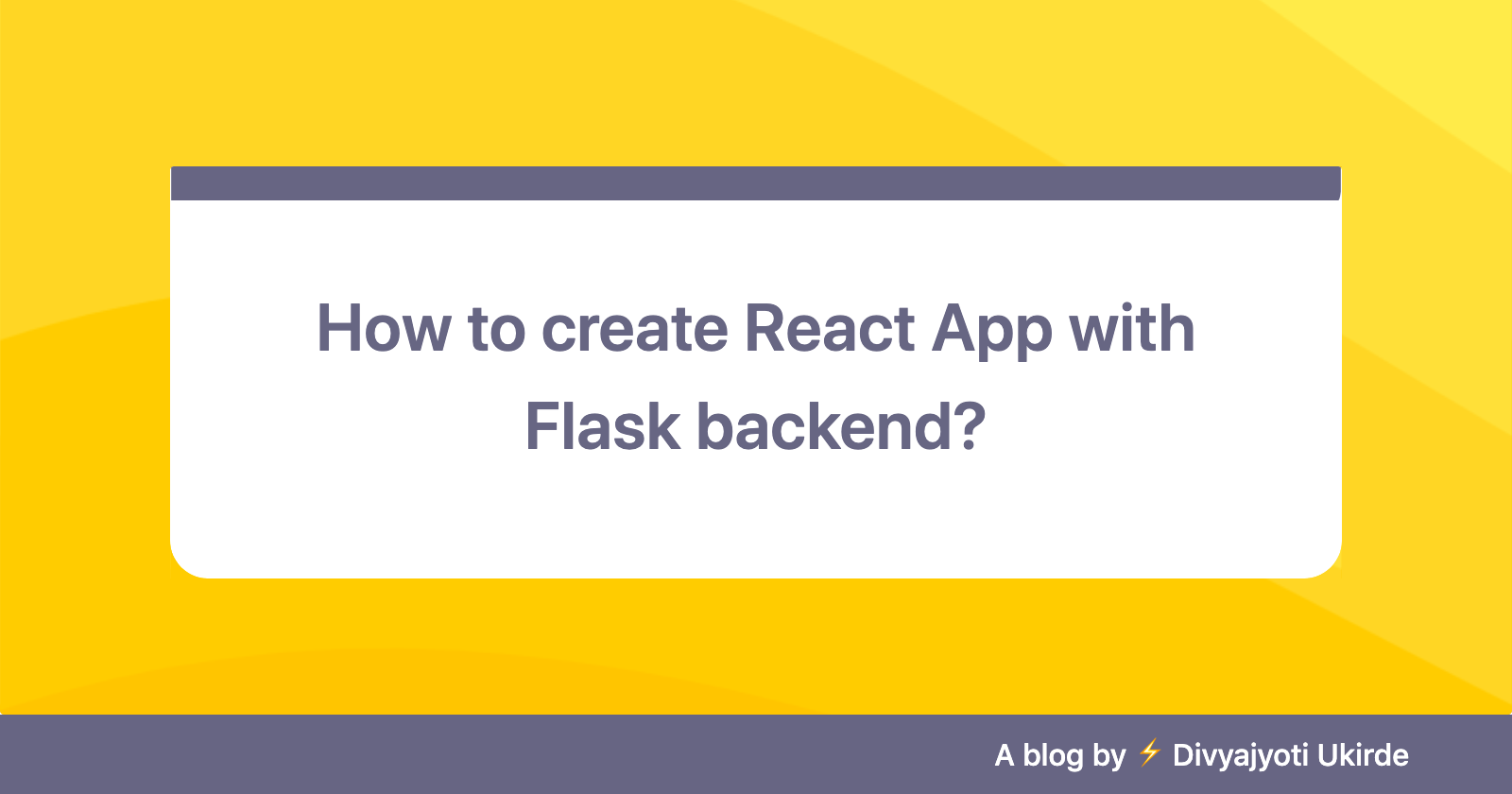How to create React App with Flask backend?