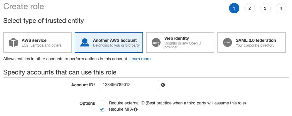 An image of the AWS console role creation step 1