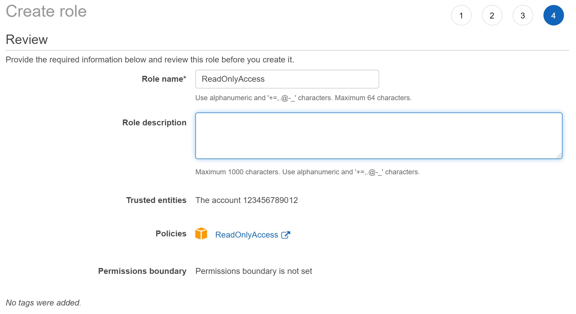 An image of the AWS console role creation step 4