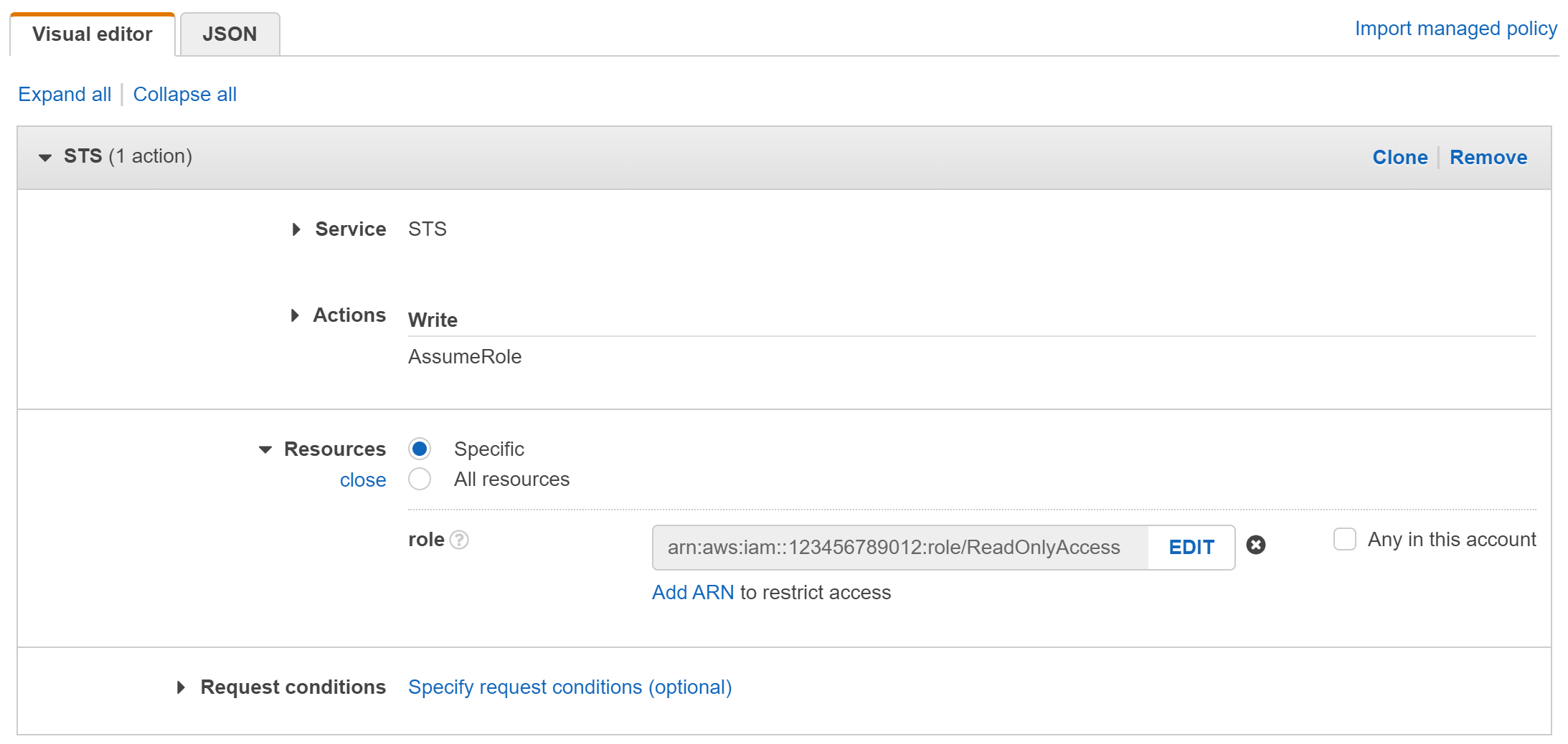 A screenshot of the role creation in the AWS Console
