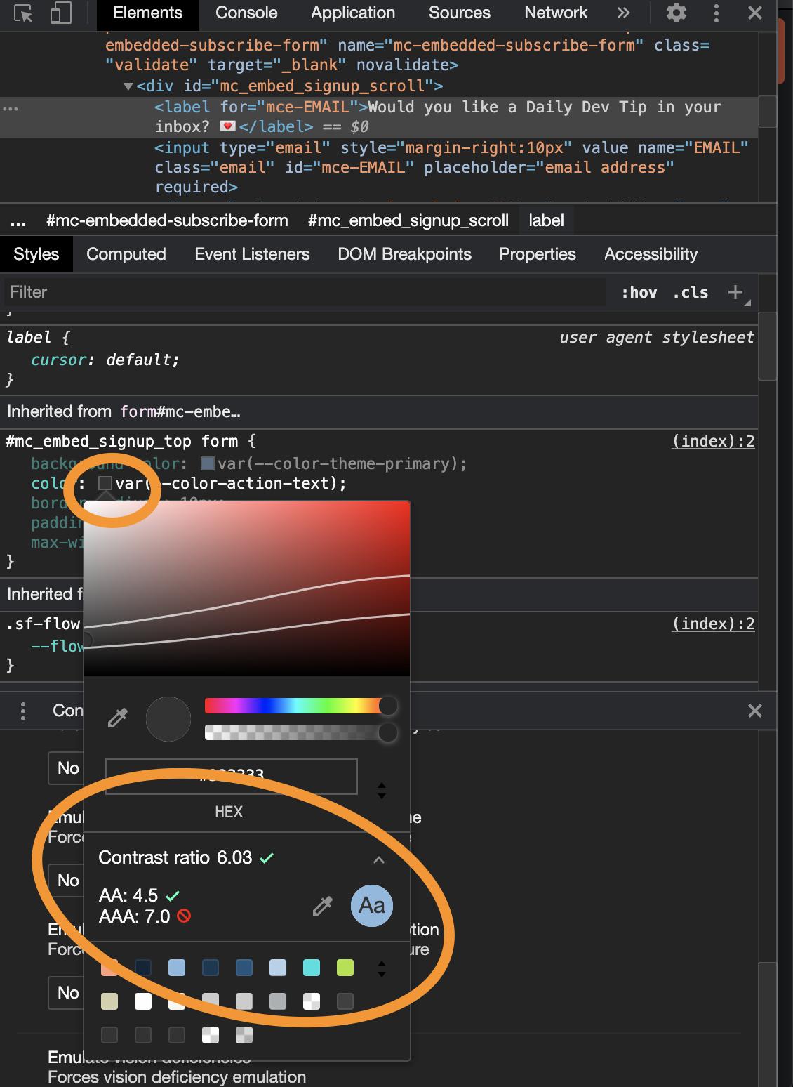 Chrome contrast ratio