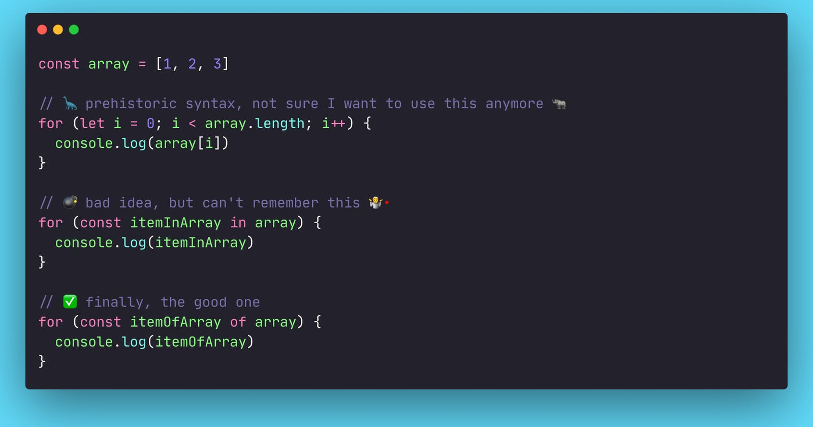 I can't write a JavaScript for loop, and it does not matter