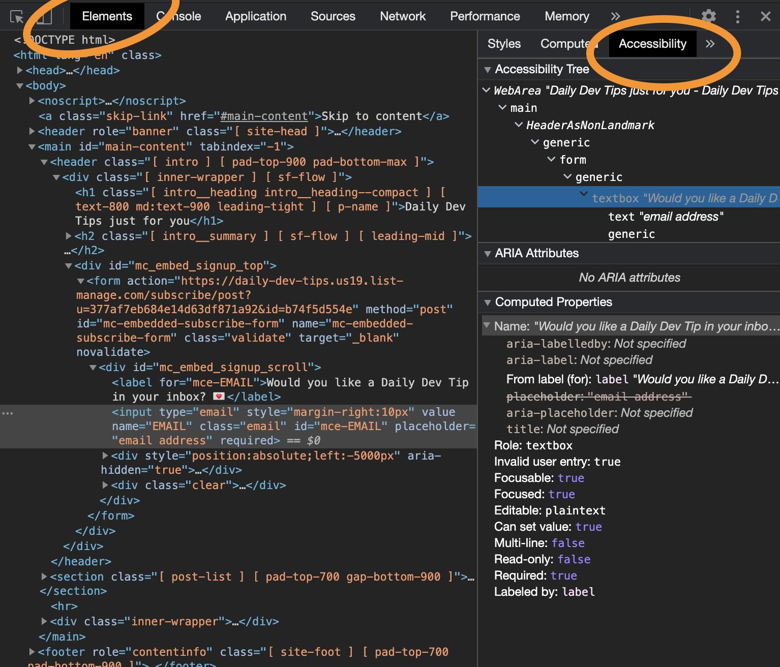 Chrome accessibility inspector