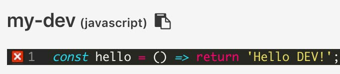 Copy to clipboard next to the snippet's name in Code Notes