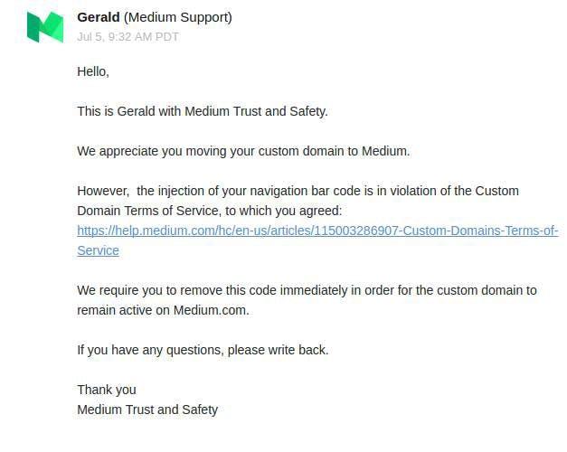Warning from Medium's security team