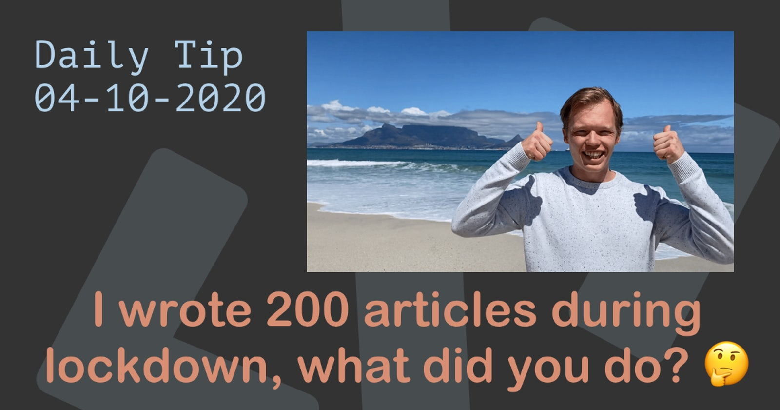 I wrote 200 articles during the lockdown, what did you do? 🤔