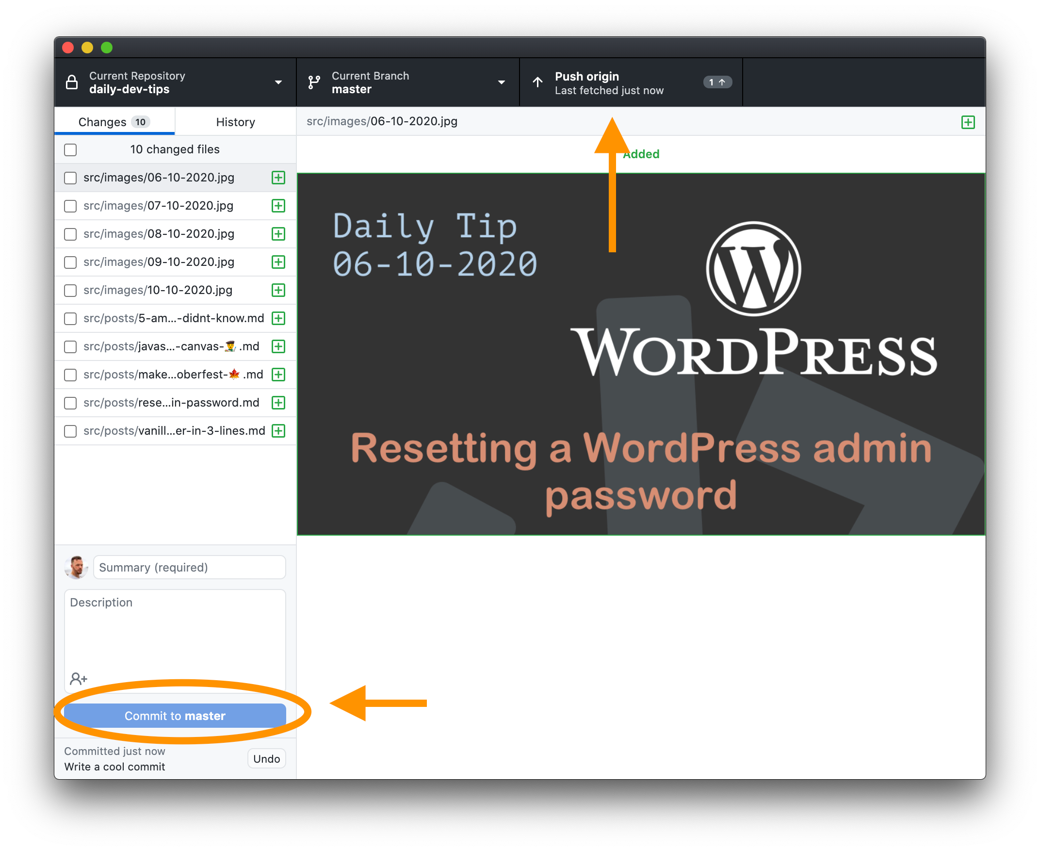 Commit in GitHub desktop