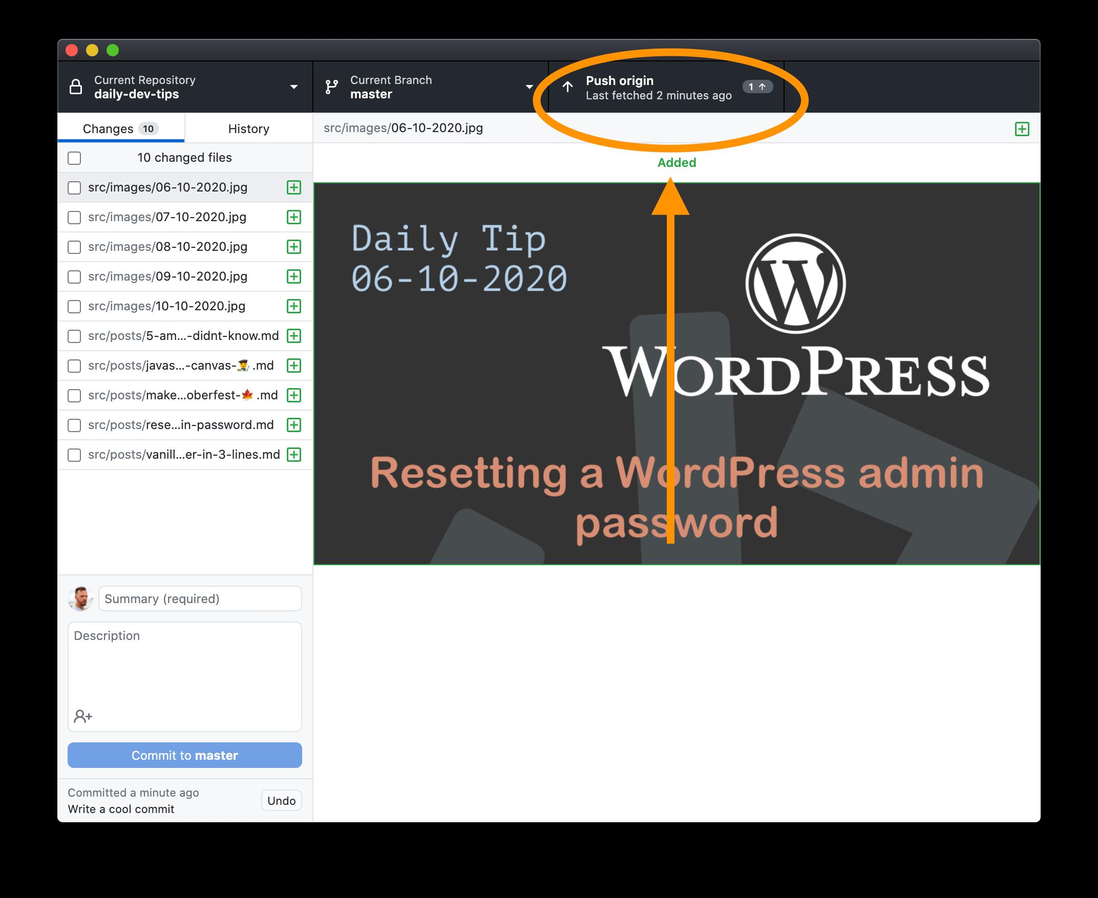 Push commit in GitHub desktop