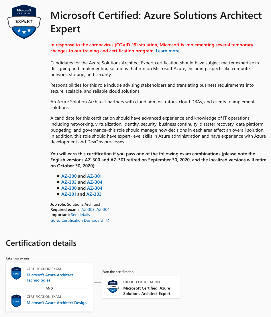Microsoft Certified Azure Solutions Architect Expert