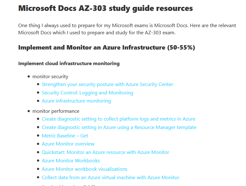 AZ-303 Study Guide Azure Architect Technologies