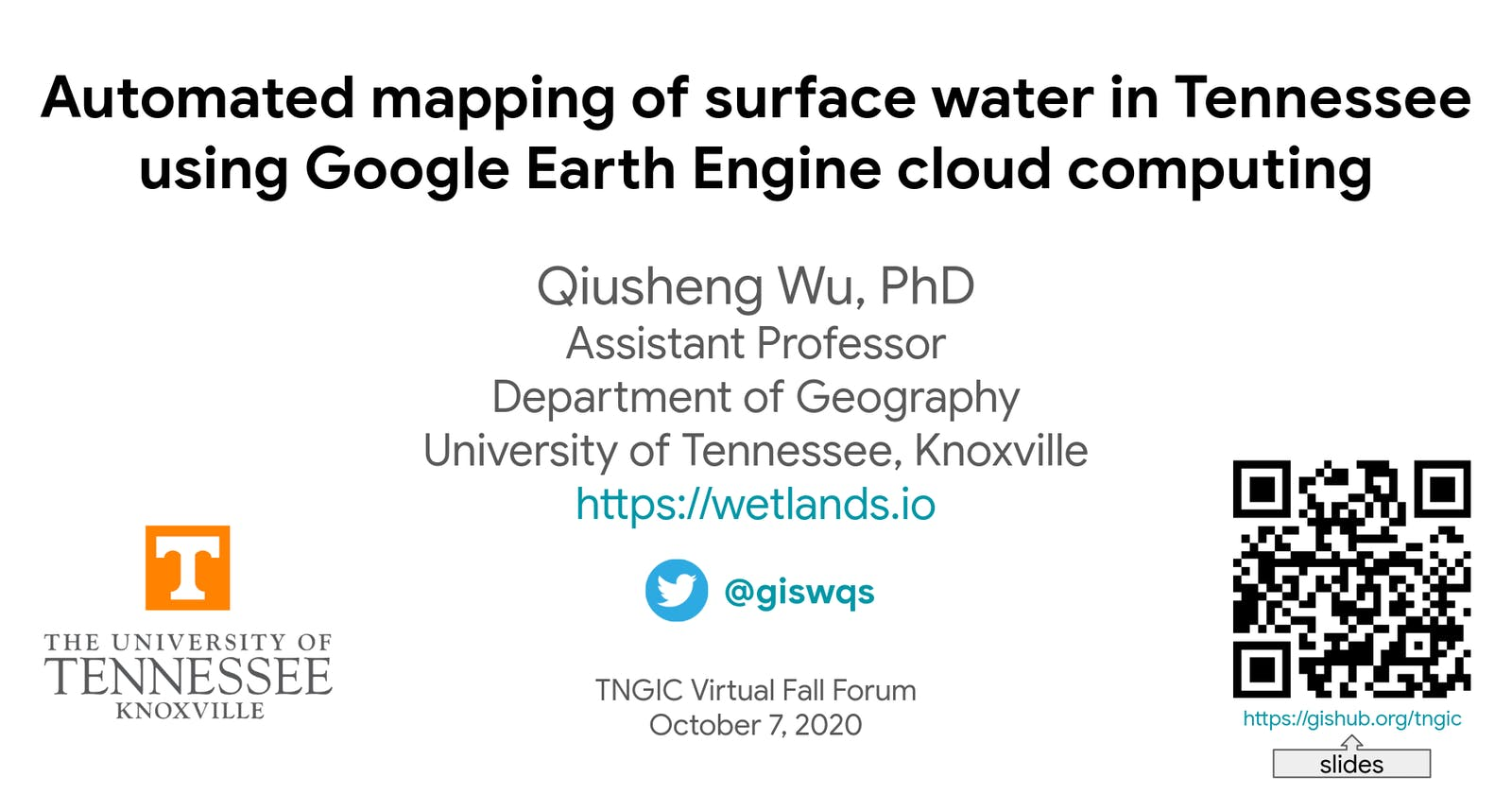 TNGIC Conference - Automated mapping of surface water in Tennessee using Google Earth Engine