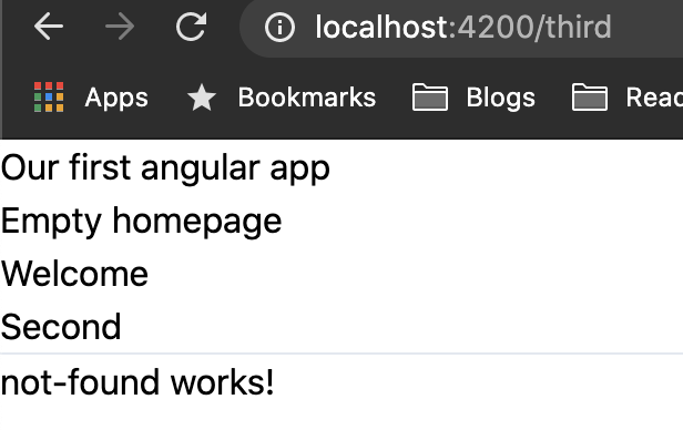 Angular route not found