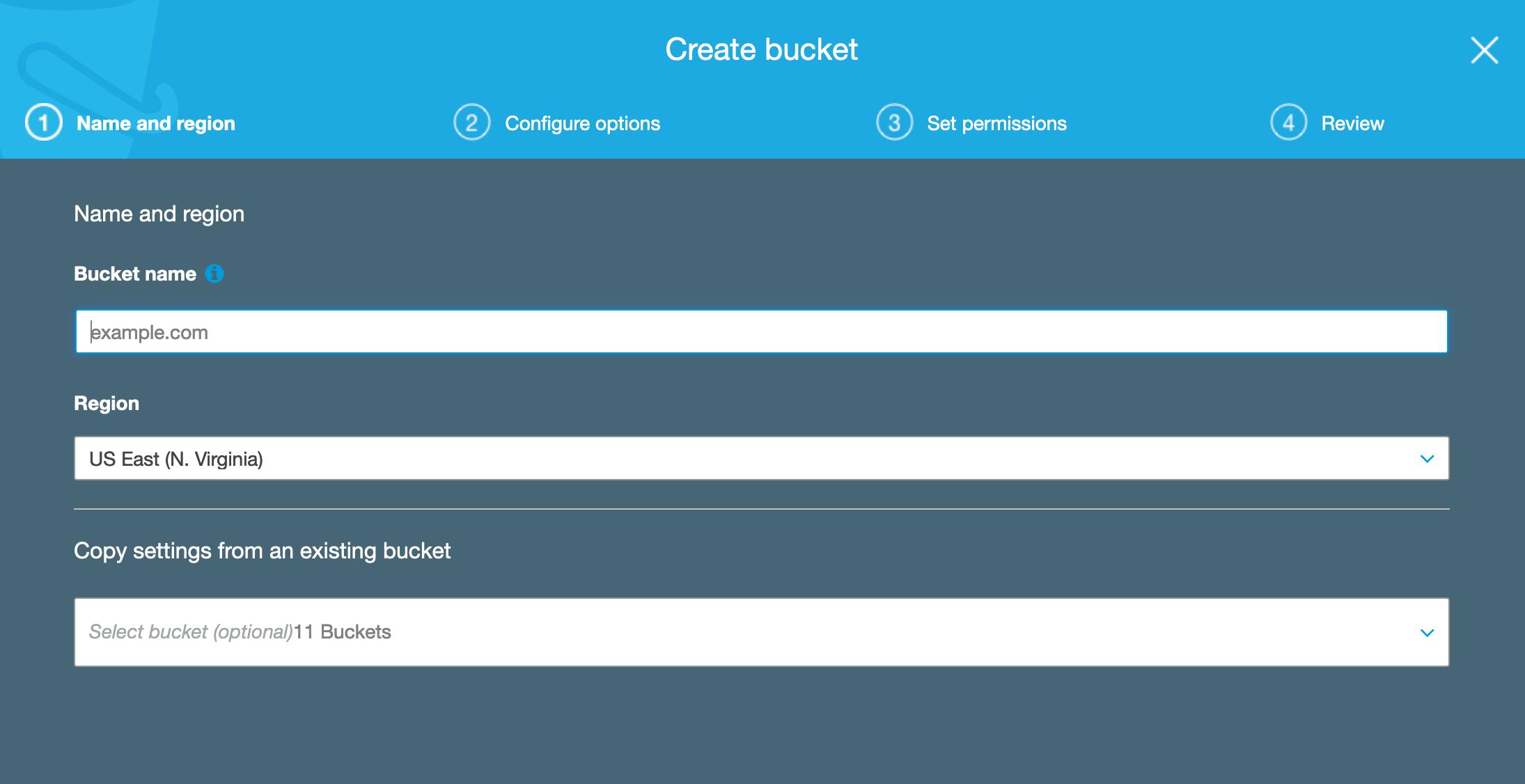Second bucket creation