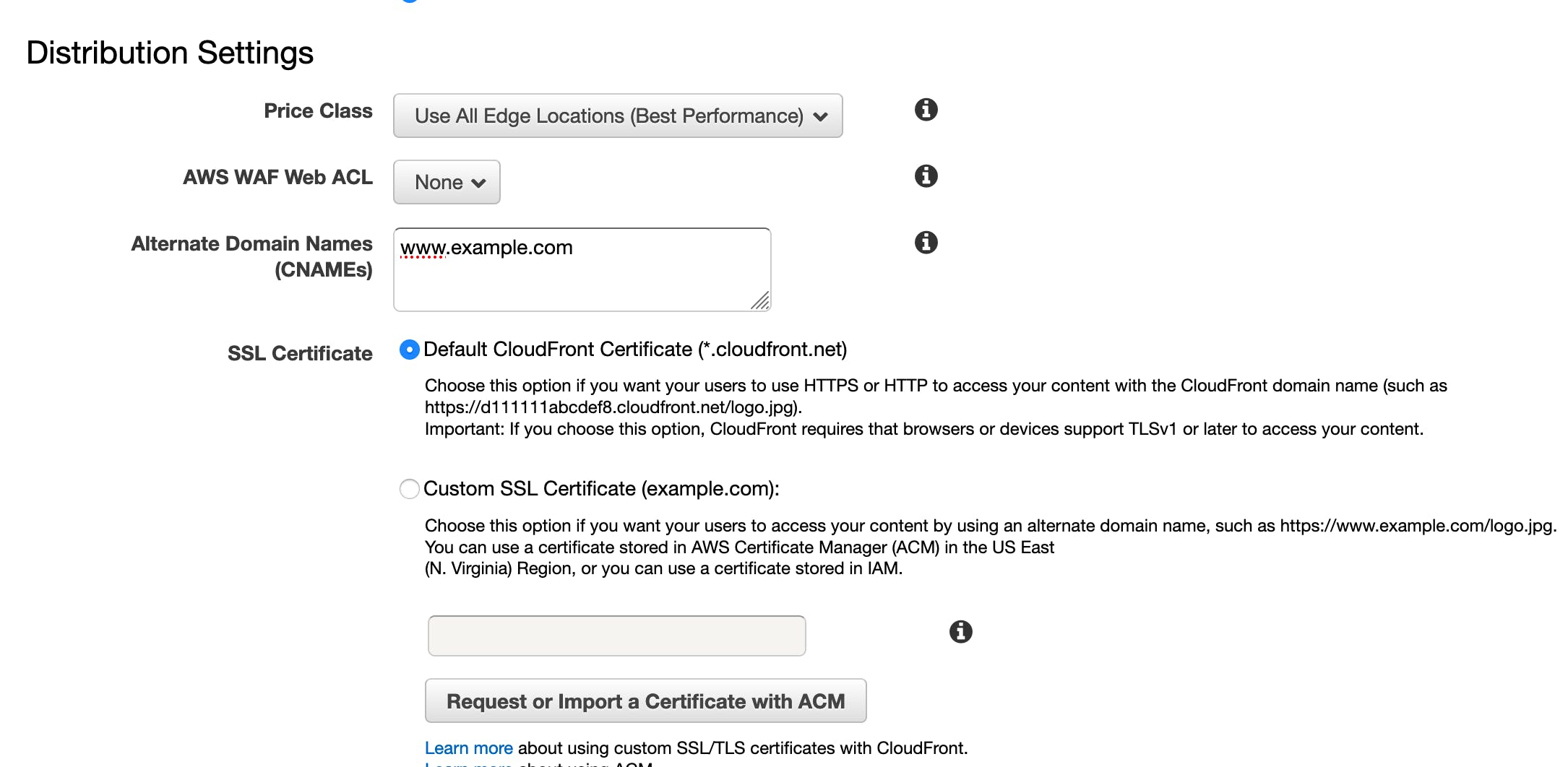 CNAME setting in CloudFront