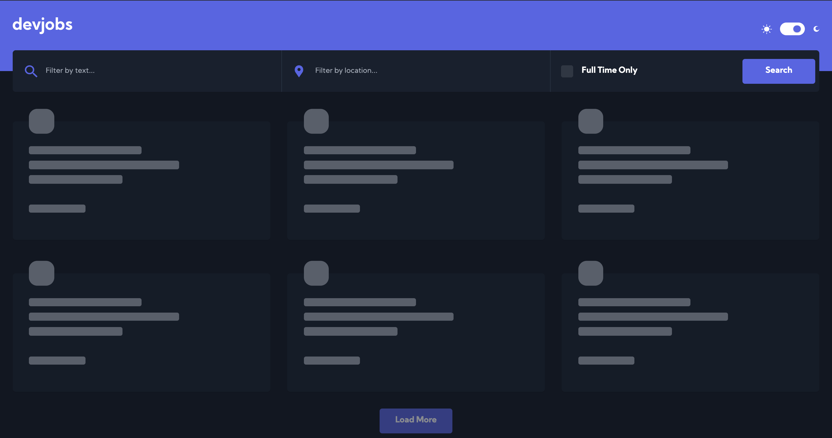 Loading Home Page - Dark Mode