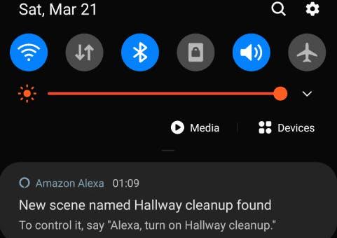 Alexa notification for new scene