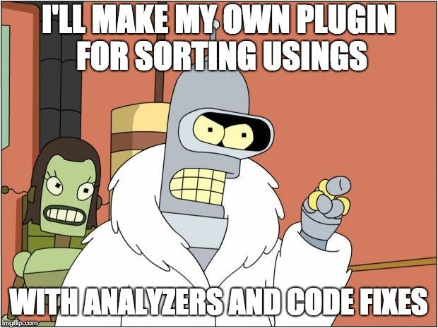 I'll make my own roslyn plugin for sorting usings...with analyzers and code fixes