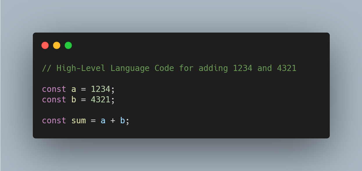 High Level Language Code Snippet to add two numbers