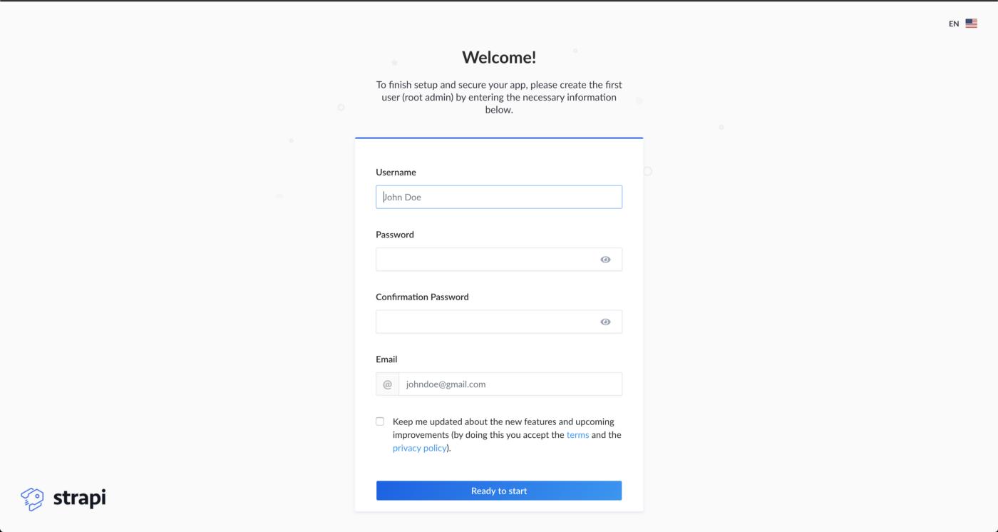 Registration form for admin panel