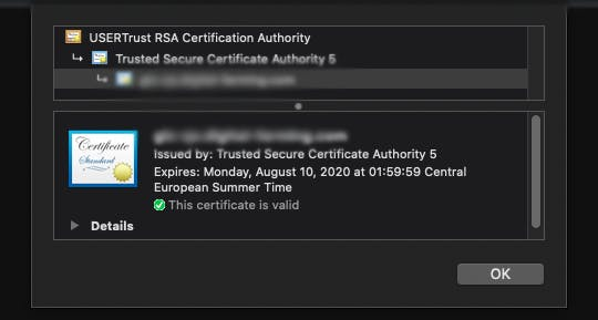 Chrome happily validates the certificate chain, recognizing the newer USERTrust Root Certificate